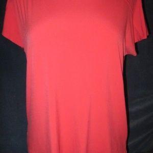 Dark Melon Orange Slinky Stretch Knit Shirt XL